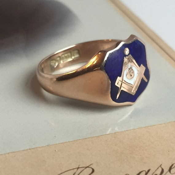Masonic Square and Compass Ring - 9ct Yellow Gold and Enamel English  Fraternal Masonic Ring