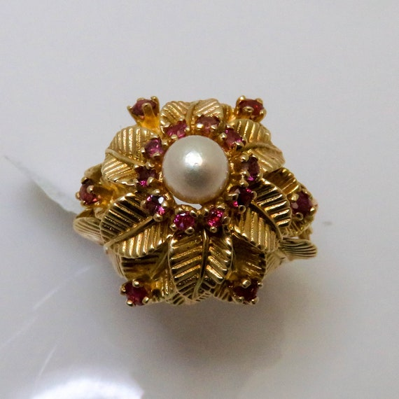 Pearl and Ruby - Pearl Ring - Pearl and Ruby Ring