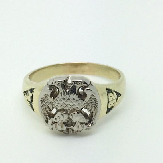Vintage Masonic Double Eagle Enamel Statement Ring  RWJZMF-D
