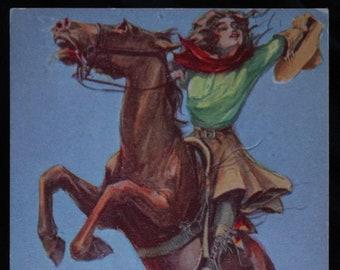 Vintage Cowgirl Postcard Western Thoroughbreds 1911