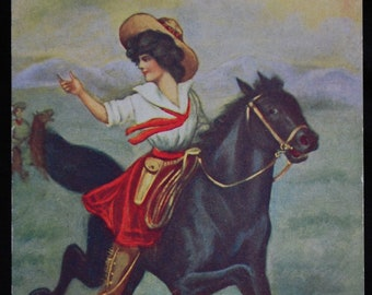 Vintage Cowgirl Postcard #4408 Hurry Up