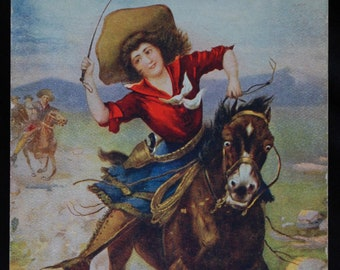 Vintage Cowgirl Postcard The Belle of the Plain