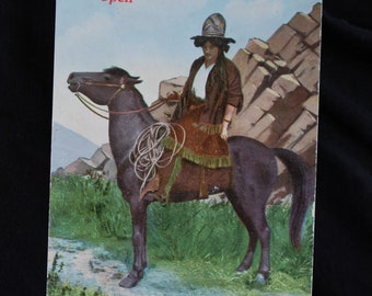 Vintage Cowgirl Postcard AH Co. #1016 A Breathing Spell