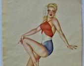 Varga July 1945, Red White and Blue Vintage Pin-up, Patriotic, July 4th, Blonde in Swimsuit, Vargas