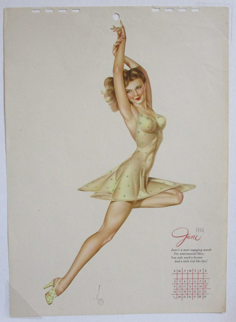b1c16881c04092 Varga June 1946 Vintage Pin-up Calendar Page Calendar Girl | Etsy