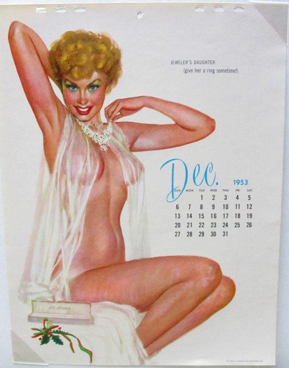Calendrier Pin Up.Al Moore Decembre 1953 Vintage Pin Up Calendrier Page Calendar Girl Vintage Calendrier Page Pinup Vintage Petite Fille Varga