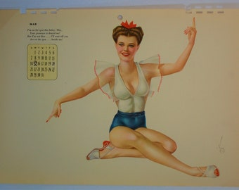 Varga May 1944 Red White and Blue Babe Vintage Pin-up