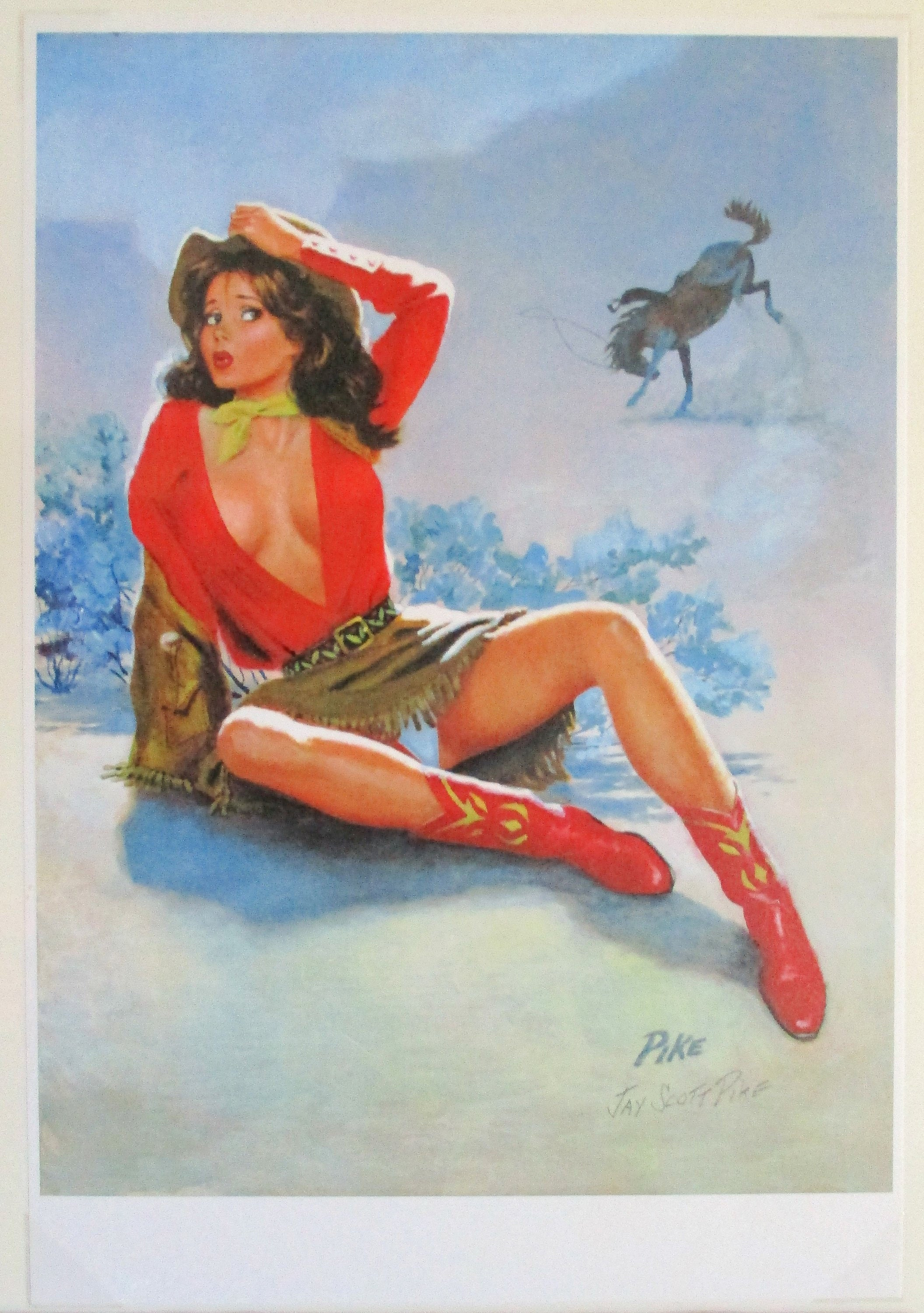 2276ea56668121 Jay Scott Pike signed Pin-up Sexy Cowgirl Calendar Girl | Etsy