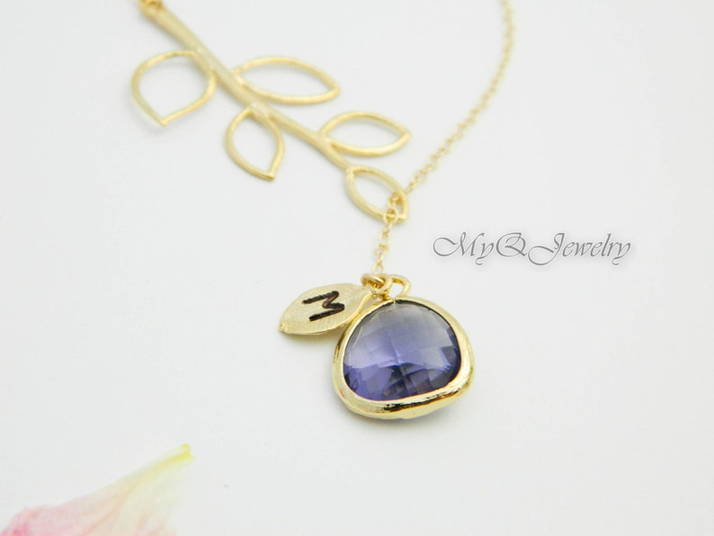 Amethyst Jewelry Bridesmaid Gift Initial Necklace Lariat GOLD Monogram Necklace February Birthstone Personalized Bridesmaid Jewelry