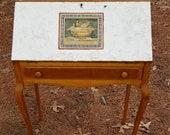 Maple Drop Front Desk with Queen Anne legs Salt Texture Front Panel wth Roman Fresco Design - Local Pick Up