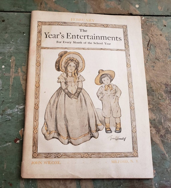 Antique The Year's Entertainments for Every Month of the School Year February Edition F.A. Owen Publishing Co. Guide for Teachers 1909