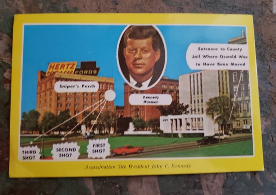 Vintage Souvenir Post Card Assasination Site President John F Kennedy Dallas Texas
