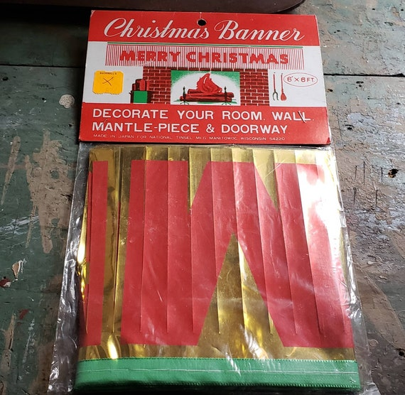 Vintage Merry Christmas Red and Gold Christmas Banner National Tinsel Mfg Manitowoc WI Original Packaging 6 Ft