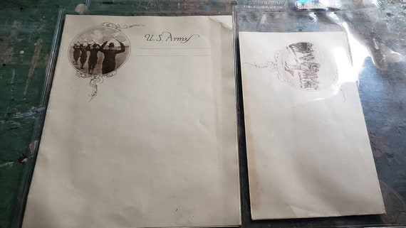 Antique US Army Note Paper and Matching Envelope WWI Era Letters Militaria Soldiers