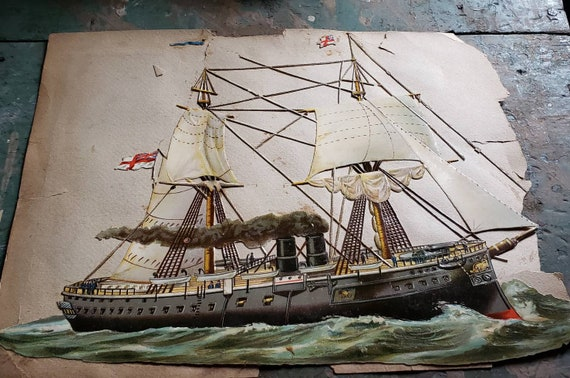 Antique Victorian Scrapbook Page Huge Sailing Vessel Hunts Remedy Ad Soap Ad Child with Dog Sympathy Card Dble Sided