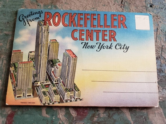 Vintage Souvenir Post Card with Photos of Rockefeller Center New York City