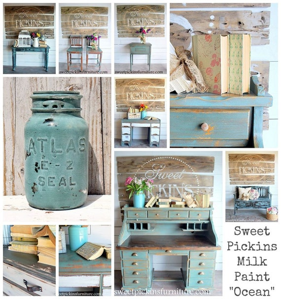 Sweet Pickins Milk Paint Color - Ocean 6 oz. Makes 1 Pint