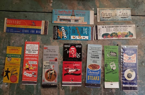 Vintage Match Book Covers Group of 12 Covers Only Bowling Food Products Men's Clothing