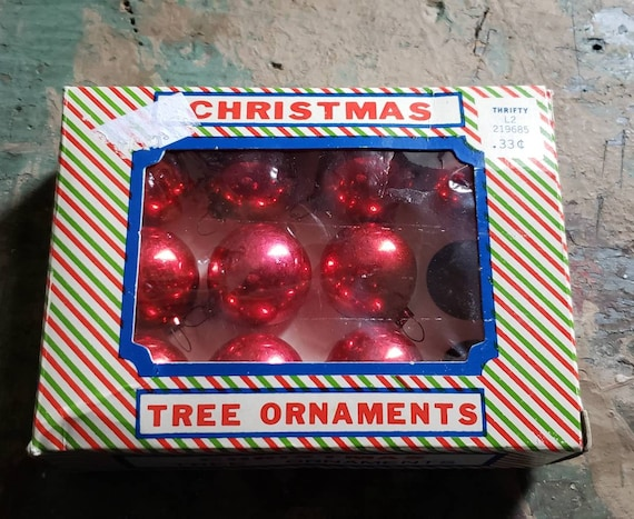 Vintage Red Glass Christmas Ornaments Santa Land in Original Packaging Red Set of 10 from Original 12 Japan Christmas Tree
