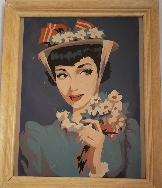 Vintage Paint by Numbers Artwork Woman with Easter Style Bonnet Holding Daisies Audrey Hepburn Style Vintage Fashion 1950s 1960s