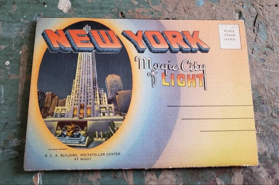 Vintage Souvenir Post Card with Photos of New York City -  Magic City of Light