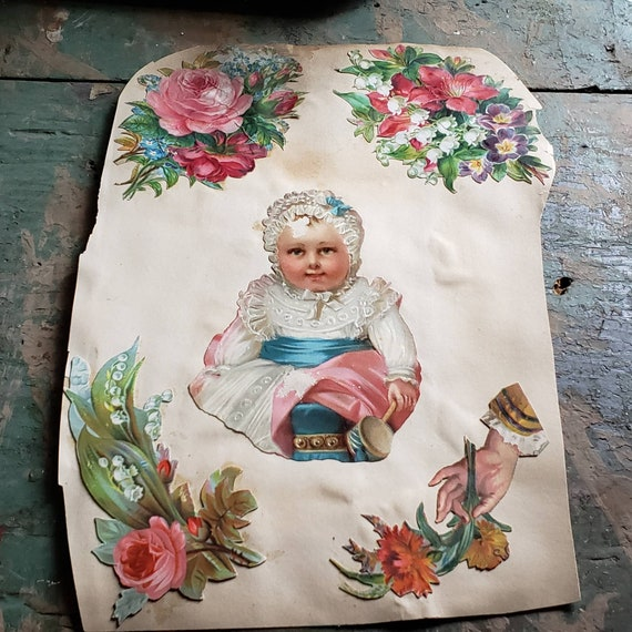 Antique Victorian Scrapbook Page Little Baby in a Bonnet Holding a Ladle Roses Hand Holding Flowers Pressed Flowers Double Sided
