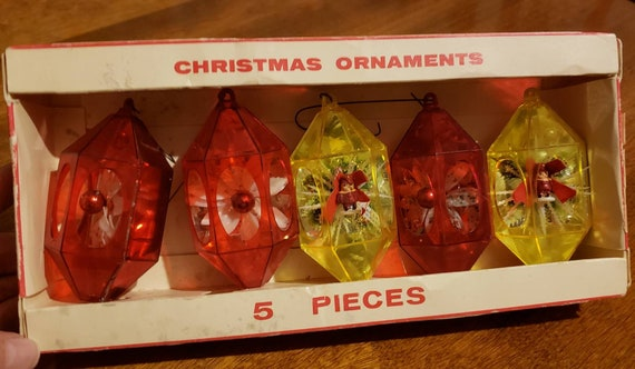 Vintage Jewelbrite Christmas Ornaments Decor Specialties Original Packaging  Christmas Tree Christmas Wreath Whitman, MA Set of Five