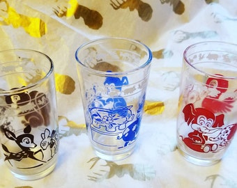 Vintage Children's Juice Glasses with Animal Images  Deer Pig Elephant Swanky Swigs Set of Three
