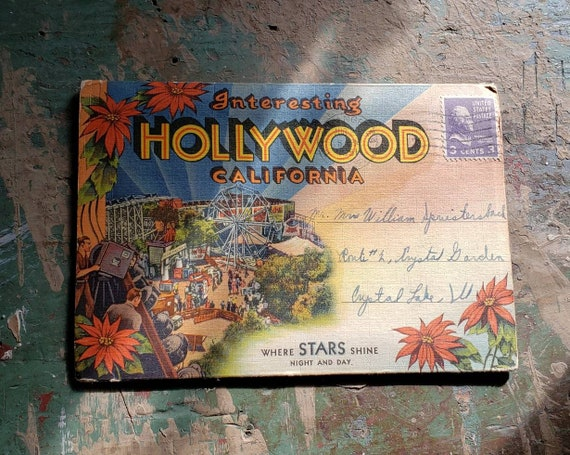 Vintage Souvenir Post Card with Photos of Hollywood California Movie Studios Movie Stars NBC CBS Studios