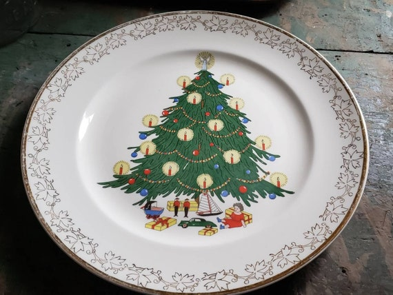 Vintage Porcelain Christmas Plate Tree with Candles Toys Doll Car Soldiers Sailboat Doll Carriage Atlas China 22 K Trim Souvenir Plates