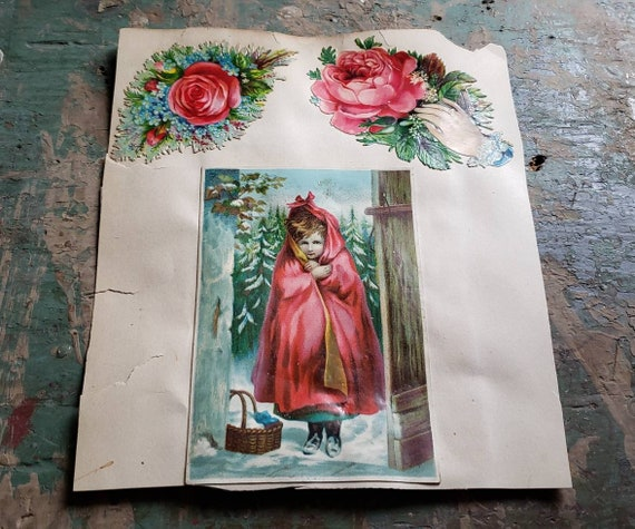 Antique Victorian Scrapbook Page Little Girl Red Roses Hands Lace Doilies Remembrance Card Double Sided