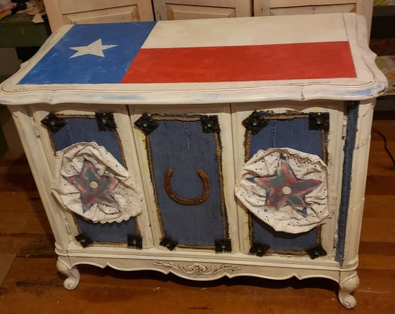 Upcycled Cabinet Texas Cowboy Theme Western Movie Posters Cattle Brands Horseshoe Robert Taylor Petticoat Stars Denim Local Pick Up Only