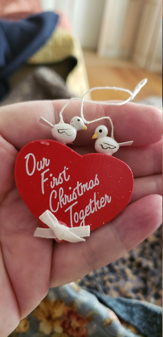 Vintage Midwest Importers Christmas Ornament First Christmas Heart Doves Love Special Occasion Love Celebration