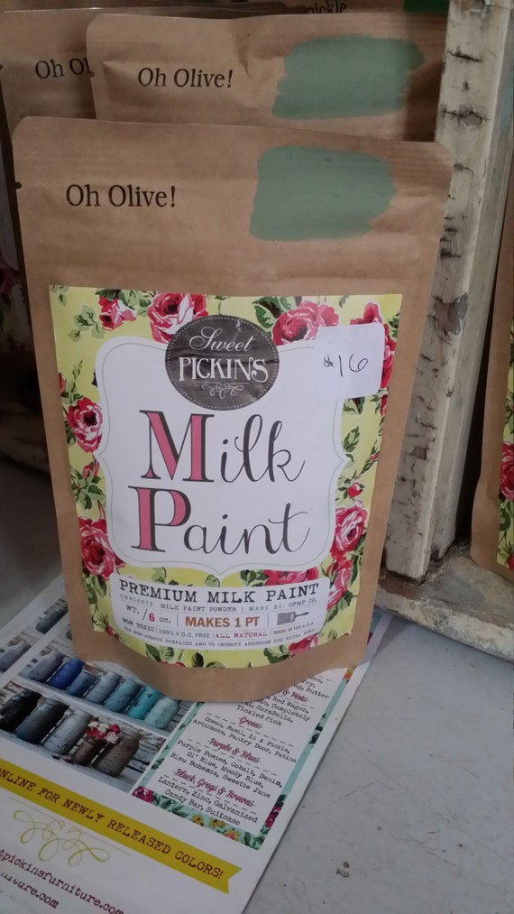 Sweet Pickins Milk Paint Color - Oh Olive! 6 oz. Makes 1 Pint