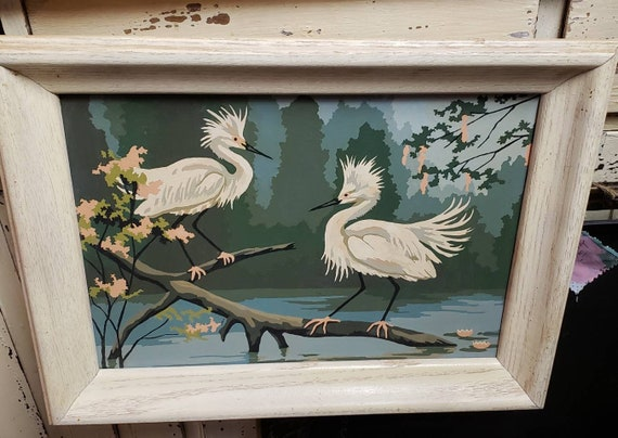 Vintage Paint by Numbers Artwork Pair of Egrets Standing on a Branch Overlooking Water in  a Wood Frame