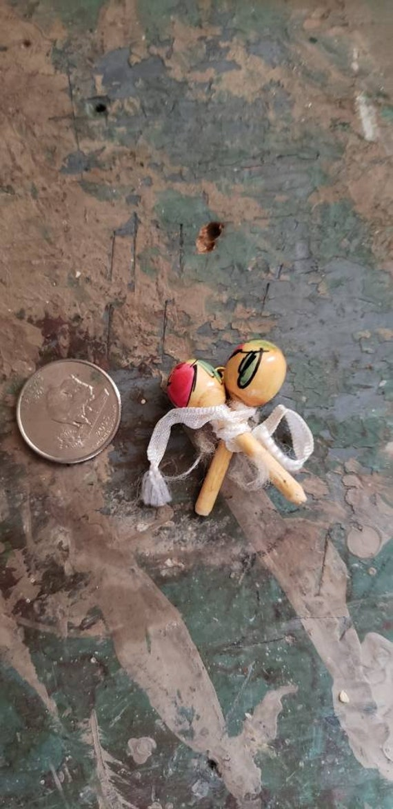 Vintage Miniature Wooden Maracas Pin Hand Painted Safety Pin Mexican Musical Instruments