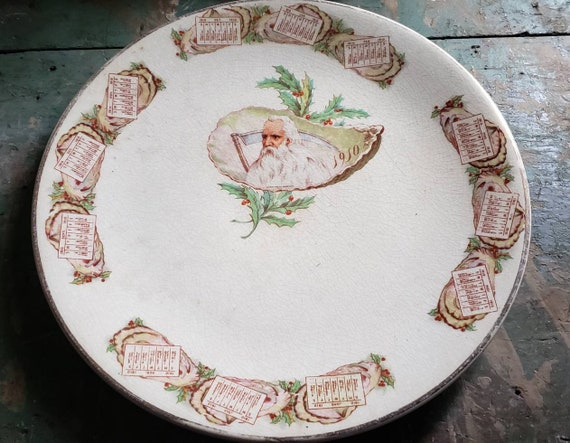 Antique Porcelain Christmas Plate 1910 Calendar Father Time Holly Berries Victorian Edwardian Souvenir Plates
