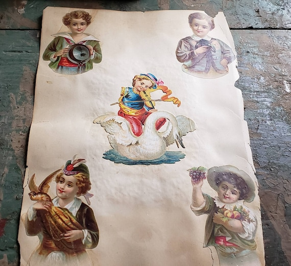 Antique Victorian Scrapbook Page Little Boy with Violin and Swan Children Rose's Lace Doilies Double Sided