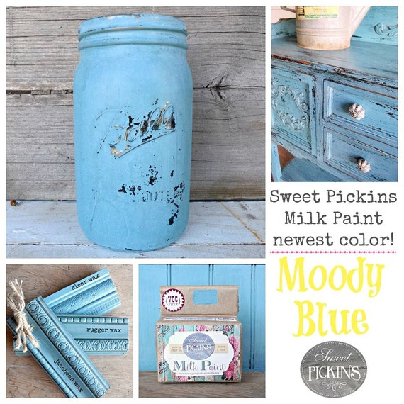 Sweet Pickins Milk Paint Color - Moody Blue 6 oz. Makes 1 Pint