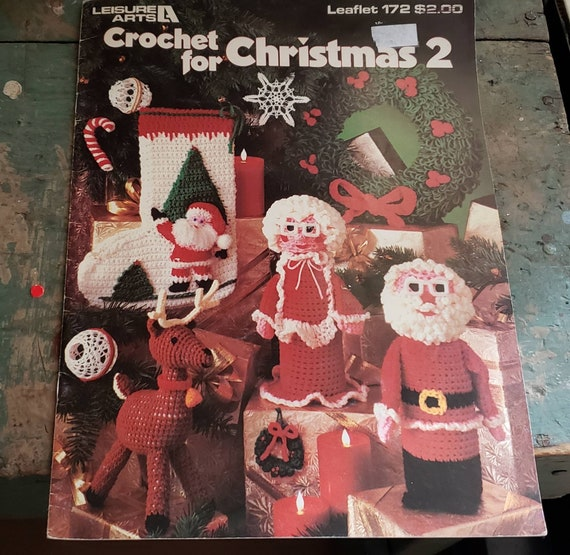 Vintage Crochet For Christmas 2 Craft Magazine 1980 Leaflet 172 Leisure Arts Reindeer Mr and Mrs Claus Stockings Bottle Covers