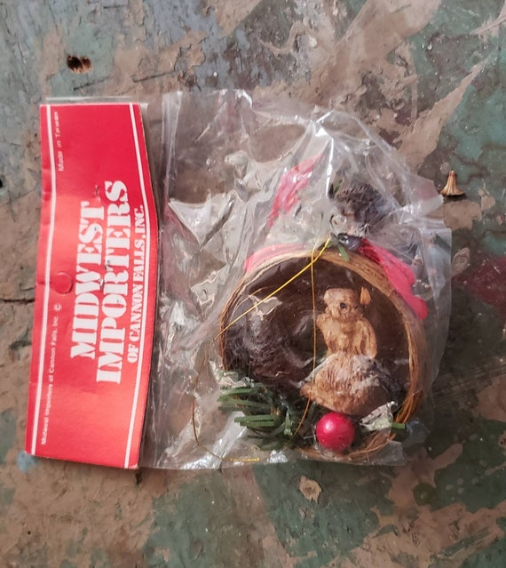 Vintage Midwest Importers Christmas Ornament Little Bunny in Bird's Nest Original Packaging