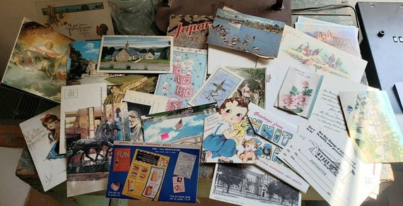Vintage Ephemera Paper with a Post Card and Greeting Card Theme Souvenir Post Cards Christmas Cards Announcements Tomes Tags Junk Journals