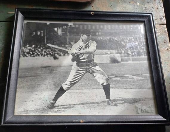 Vintage Black and White Chicago Baseball Player Photo Framed
