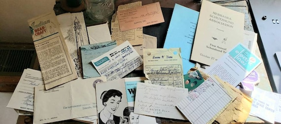 Vintage Ephemera Paper Receipts Journal Instruction Booklet Note Pad Tomes Tags Junk Journals