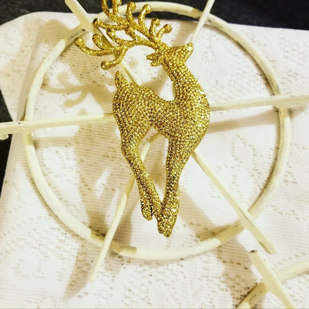 Deer Wall Decor from Upcycled Vtg Metal Stove Burner - Gold