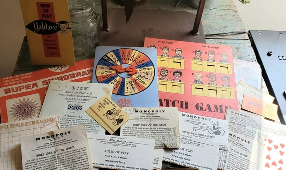 Vintage Ephemera Paper with a Board Game Theme Television Game Shows Tomes Tags Junk Journals