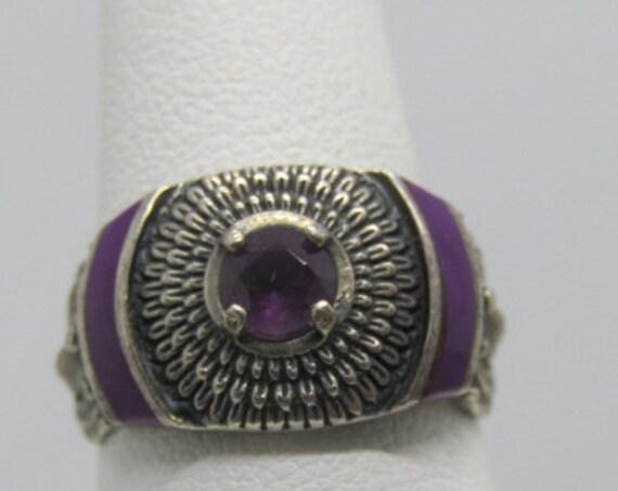 Vintage Sterling Amethyst Ring, Size 7, Purple Enamelling, signed SC in cloud, 5.92 grams, 1970's