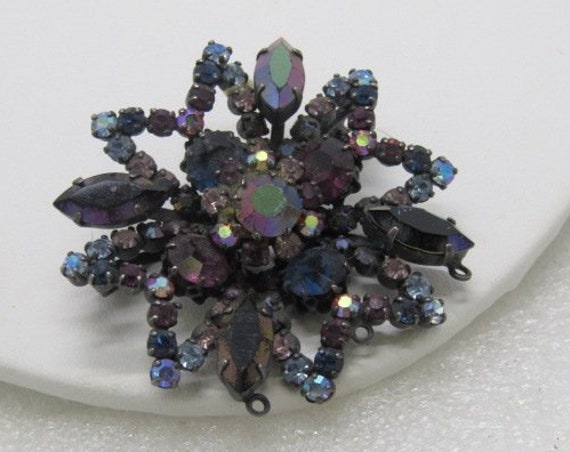 "Vintage Austria Purple A.B. Rhinestone Brooch, Dazzler, Pointed Star-like Design - 2.25"", 1950's-1960's"