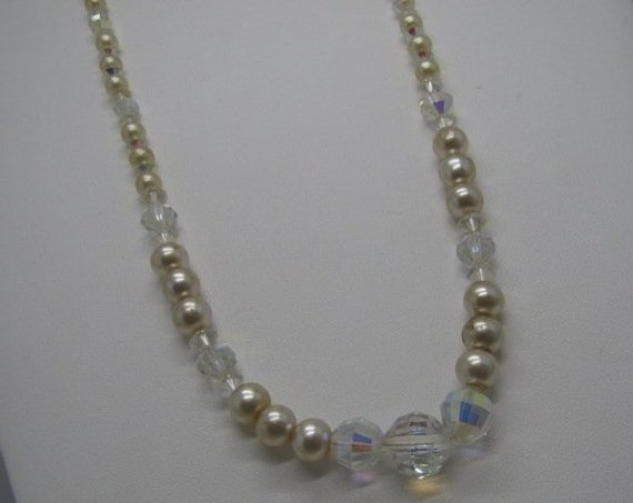 "Vintage Faux Pearl Crystal Beaded Necklace, Sterling Clasp, 22"",  Aurora Borealis, 1950's-1960's, 5.5mm-11.5mm beads/crystals"