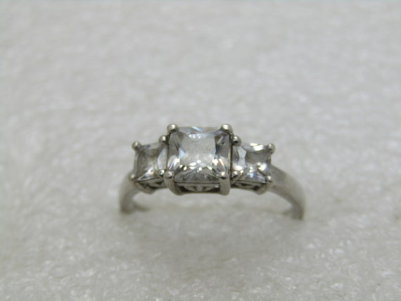 Vintage Sterling Silver Tiered CZ Ring, Sz. 8.25, Engagement/Cocktail Ring